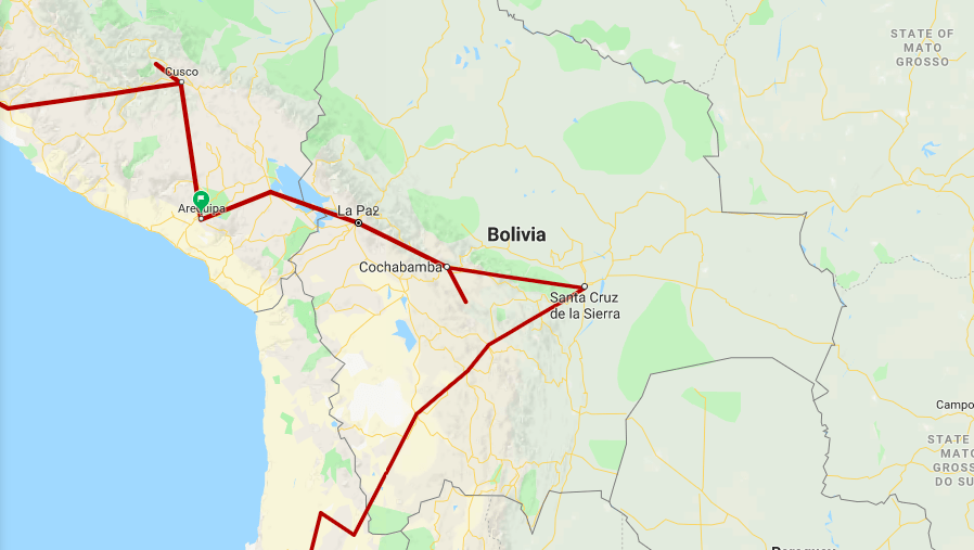 itinerary plan route trip bolivia 4 weeks month where to go visit stay see map plan